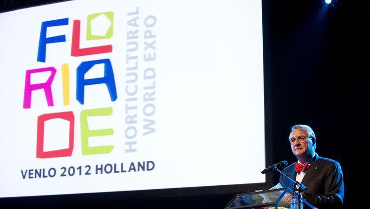 Directeur Paul Beck tijdens de slotceremonie van de Floriade 2012 Beeld ANP