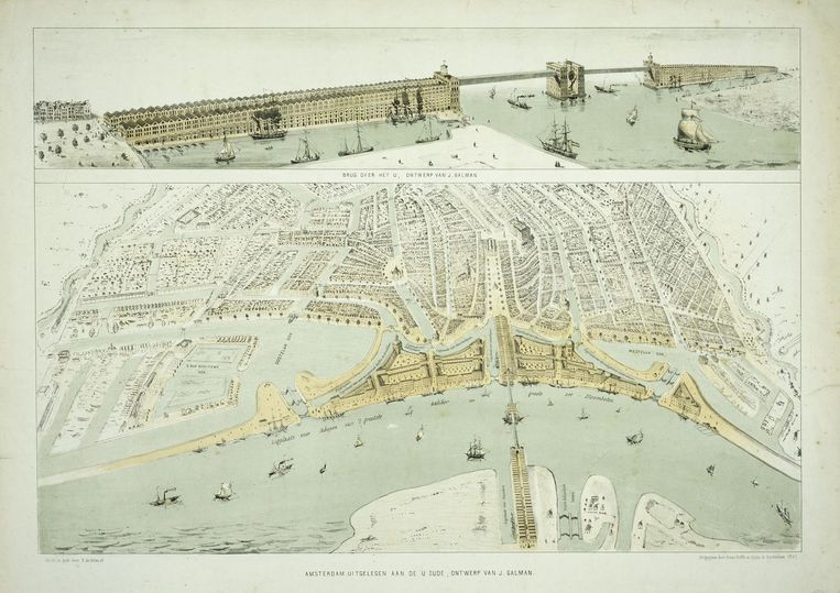 Aannemer Jan Galman tekende in 1857 al een brug over het IJ Beeld Collectie Stadsarchief