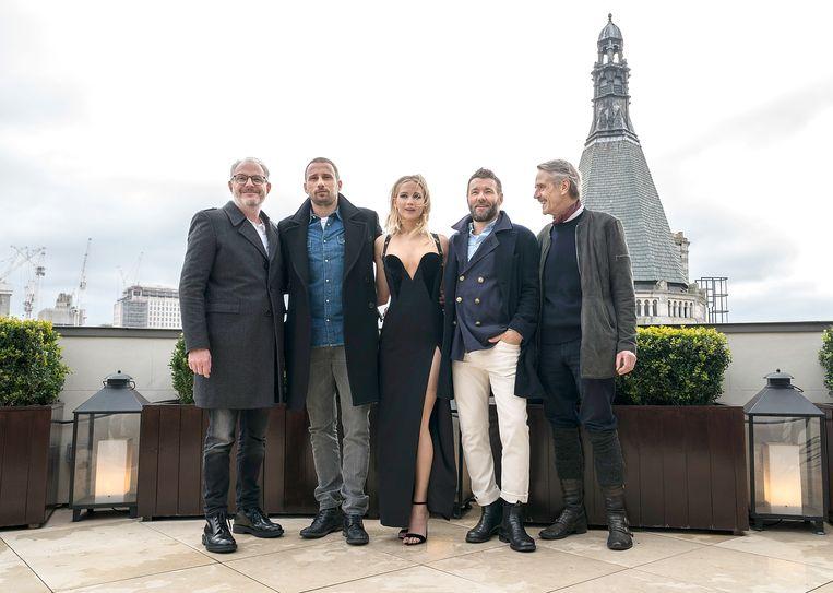 Francis Lawrence, Matthias Schoenaerts, Jennifer Lawrence, Joel Edgerton en Jeremy Irons