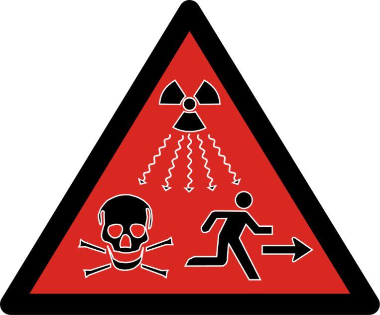 Waarschuwingsbord voor radioactieve stoffen. Beeld