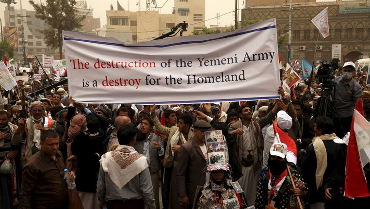 Demonstratie tegen luchtaanvallen op Jemen Beeld reuters