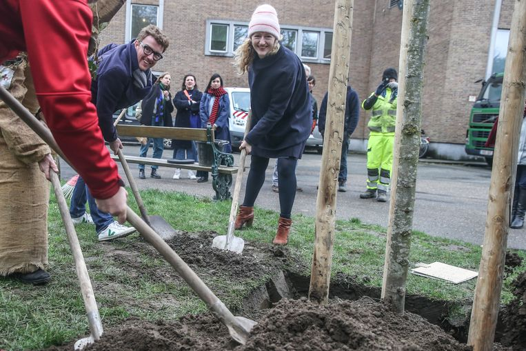 Schepen Debruyckere plant een boom in het Citadelpark.