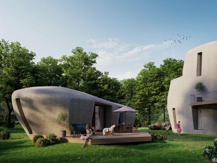 Project Milestone: Woning uit de 3D-betonprinter van de TU Eindhoven die over enkele maanden in Meerhoven, Eindhoven geplaatst gaat worden.