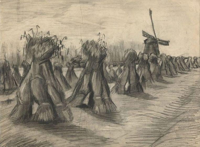 Op de tekening van een aardappelrooiende boerin is in de achtergrond de molen van Roosdonck te zien. Nuenen, 1885. Beeld Van Gogh Museum, Amsterdam (Vincent van Gogh Stichting)