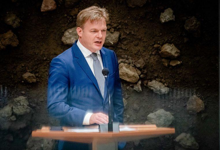 Pieter Omtzigt vorige week tijdens het debat in de Tweede Kamer over de situatie in Afghanistan. Beeld ANP