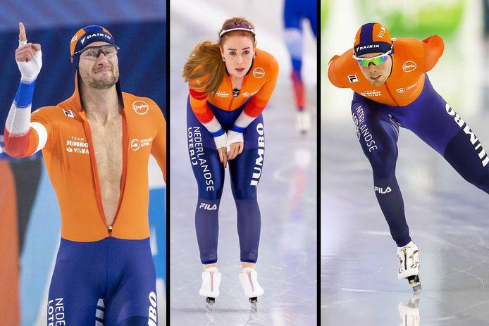 Thomas Krol, Antoinette de Jong en Patrick Roest gaan na de eerste dag in Thialf aan de leiding in de algemeen klassementen van de EK Allround en EK Sprint.