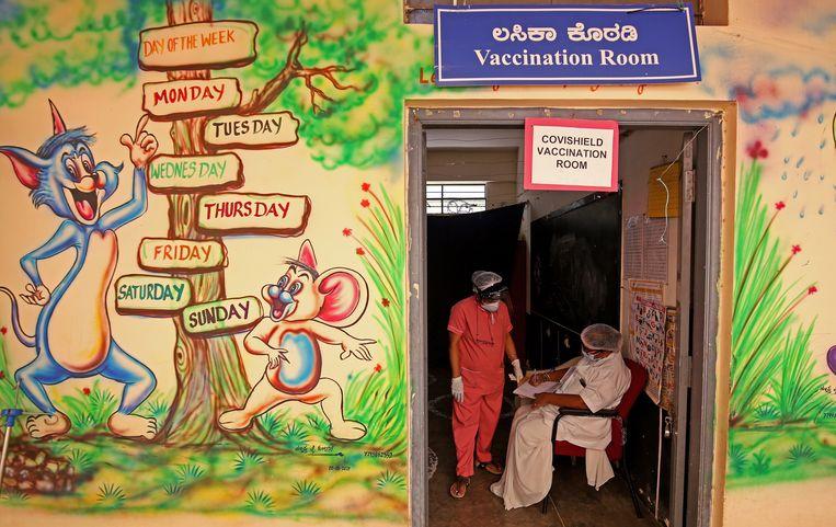 India, Bangalore, 24 mei: de kamer voor de covidvaccinatie.  Beeld Jagadeesh / EPA