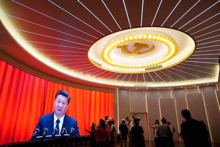 De Chinese president Xi Jinping tijdens een evenement ter ere van de honderdste verjaardag van de oprichting van de communistische partij. Beeld REUTERS