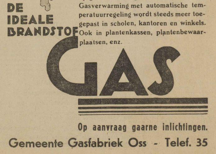 Advertentie van het Osse gasbedrijf uit 1933 maar de zusters van de meisjesschool kozen nog voor kolenkachels