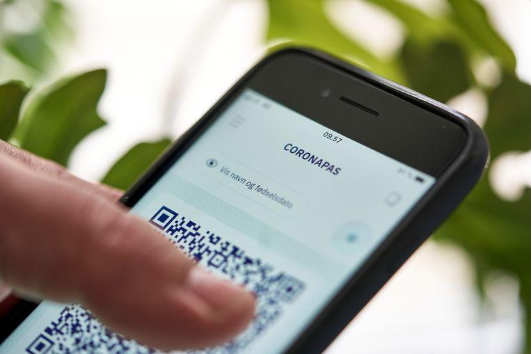 De Deense versie van het digitale coronapaspoort.  Beeld Reuters
