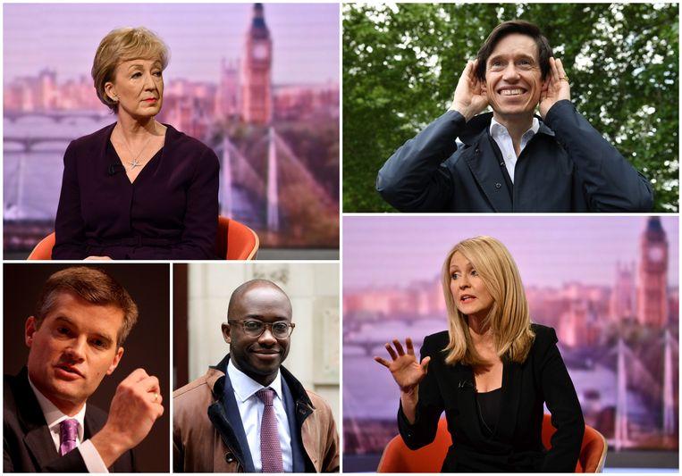 Deze vijf hadden vanmorgen nog niet voldoende stemmen binnen: bovenaan Andrea Leadsom en Rory Stewart, onderaan Mark Harper, Sam Gyimah en Esther McVey. Beeld Reuters/AP/EPA