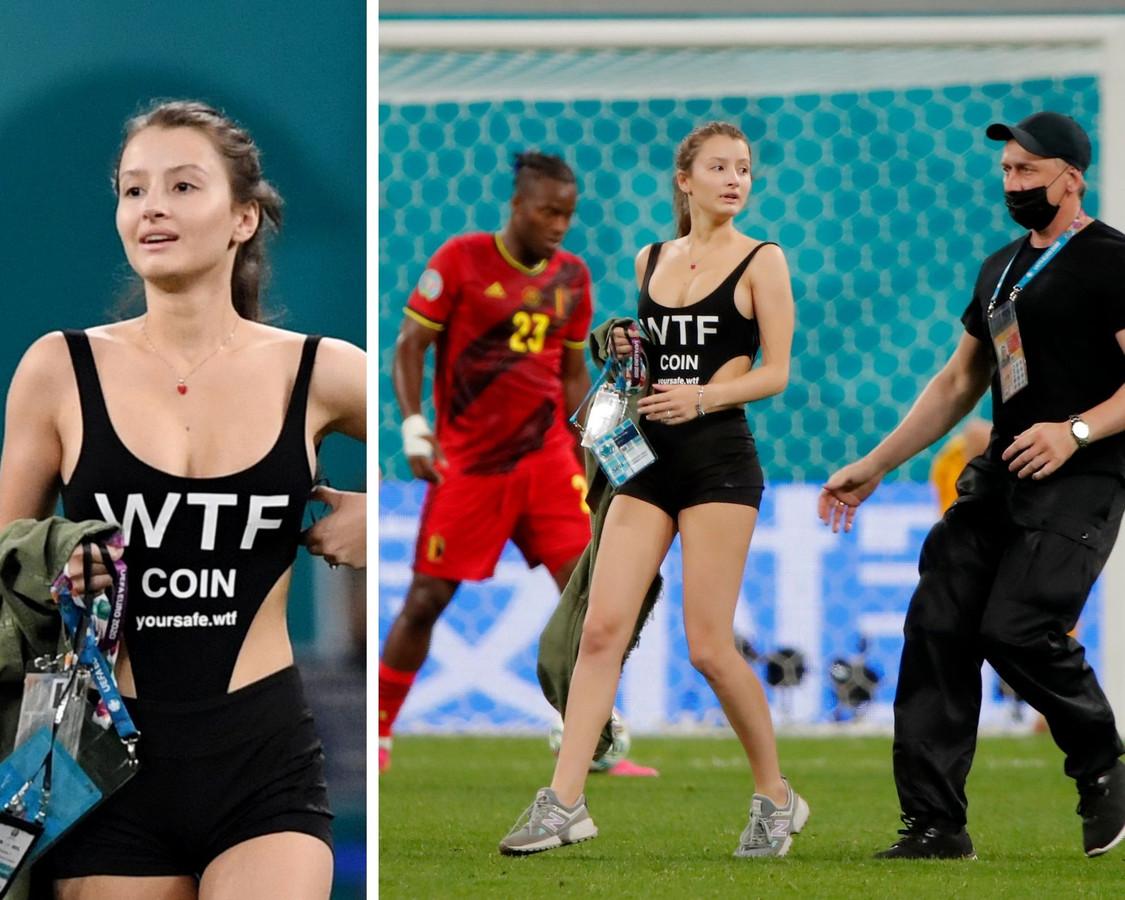 """Une """"streakeuse"""" a fait de la publicité pour des crypto-monnaies lors du match entre la Belgique et la Finlande."""