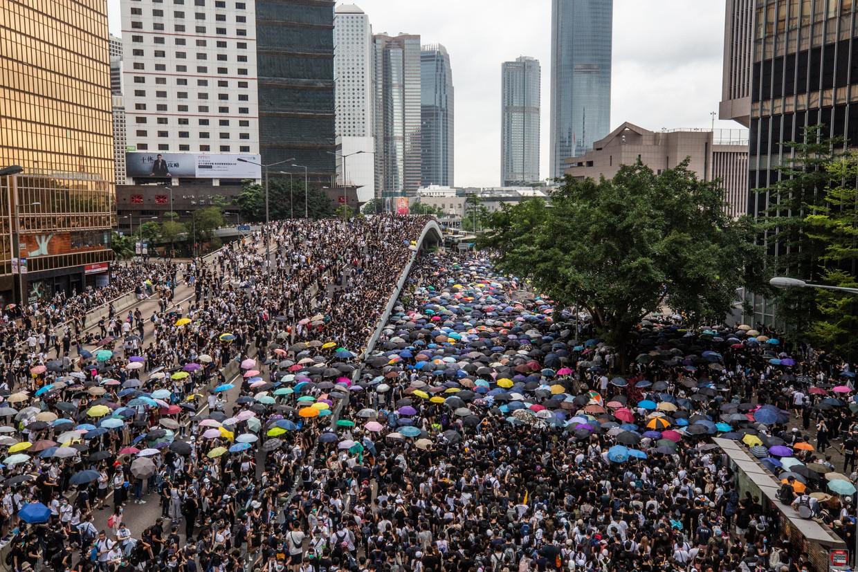 Volgens de organisatoren liepen bijna twee miljoen mensen mee in de betoging zondag. Beeld Photo News