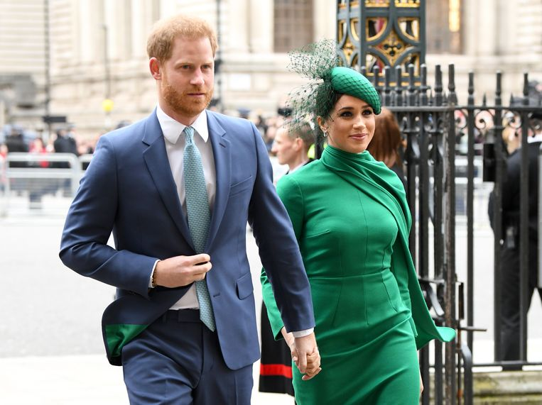 LONDON, ENGLAND - MARCH 09: Prince Harry, Duke of Sussex and Meghan, Duchess of Sussex attend the Commonwealth Day Service 2020 at Westminster Abbey on March 09, 2020 in London, England. (Photo by Karwai Tang/WireImage) Beeld WireImage