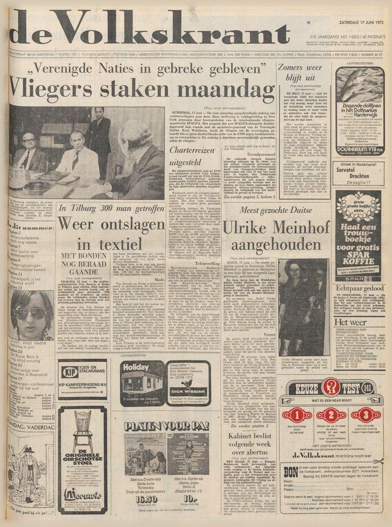 De voorpagina van de Volkskrant van 17 juni 1972. Beeld VK
