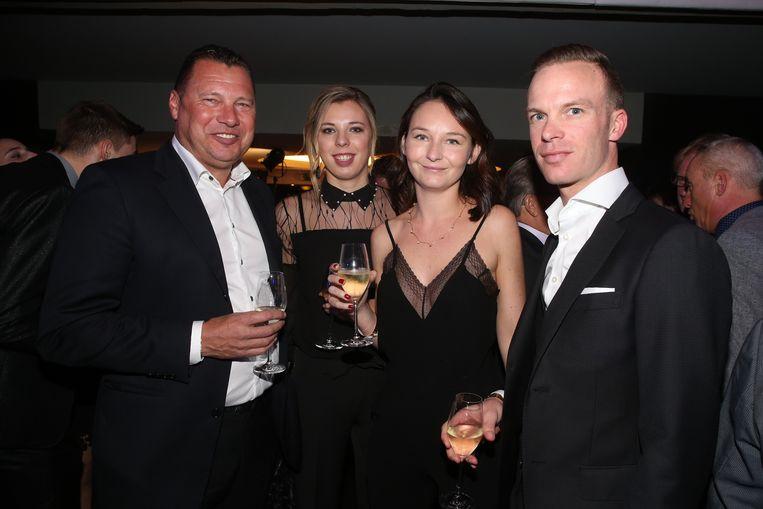 Wilfried Peeters (links) en Iljo Keisse met hun partners.