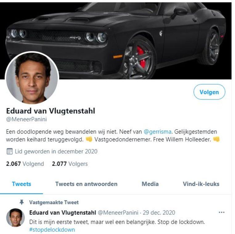Thierry Baudet retweette een bericht van Eduard van Vlugtenstahl, maar die bestaat helemaal niet. Beeld Twitter