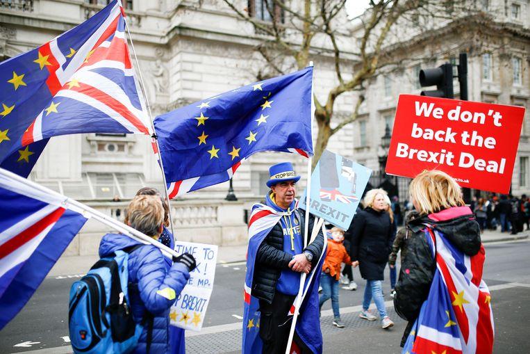 Antibrexitbetogers hebben postgevat aan de ambtswoning van premier May, in de Londense Downing Street. Beeld REUTERS