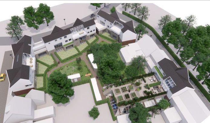 Het plan voor CPO Philipsdorp in Eindhoven, met rechts aan de Draaiboomstraat de parkeervoorziening met een dakterras waarop stadslandbouw mogelijk is.