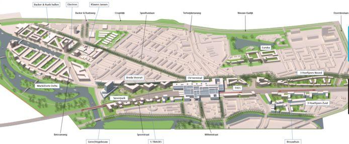 Het gebied CrossMark in Breda. Alleen staat link het CSM-terrein er niet helemaal op.
