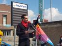 Vakbondssecretaris Evert Persoon hield een bevlogen speech.
