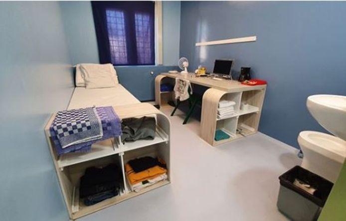 Een cel op de nieuwe afdeling van het PPC in Vught.
