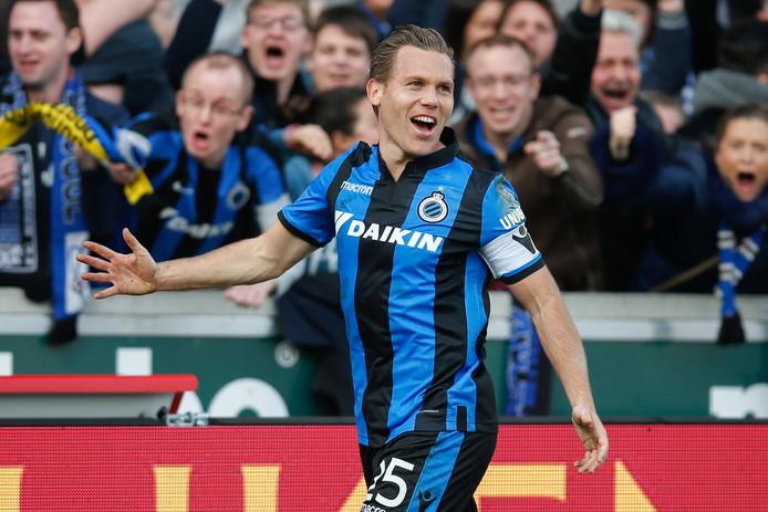 Club Brugge-captain Ruud Vormer juicht nadat hij de 3-1 heeft gemaakt.