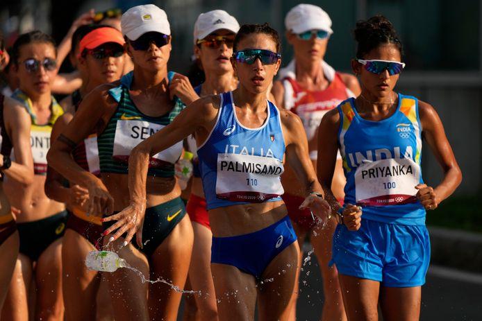 Snelwandelaars in actie tijdens de Olympische Spelen.