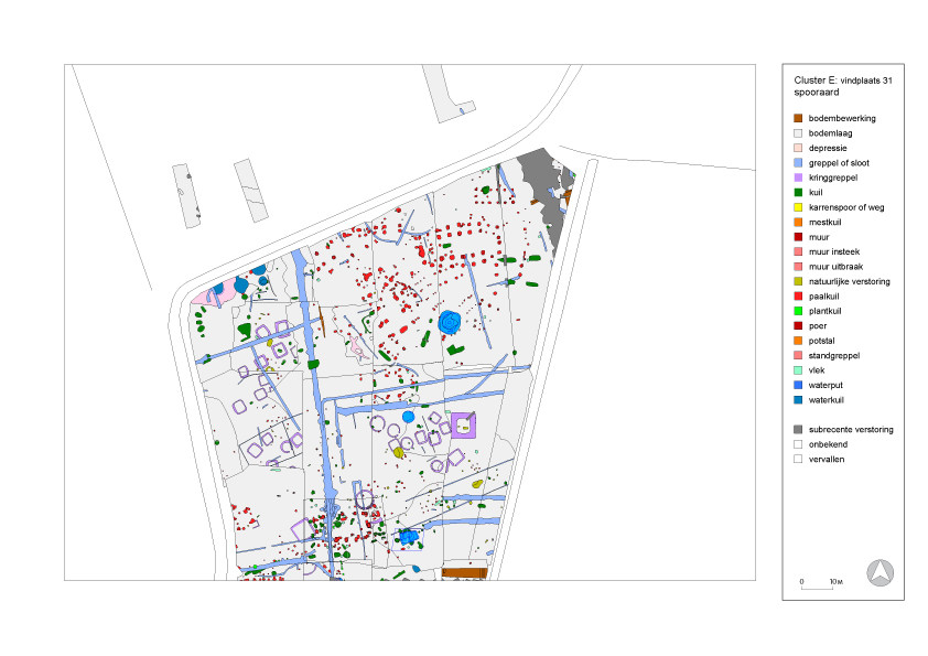 Overzicht van de opgegraven gebouwen en andere structuren uit de diverse tijdsperioden in Best-Aarle