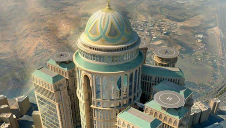 Een impressietekening van het nieuwe Abraj Kudai-hotel. Beeld Dar Al-Handasah