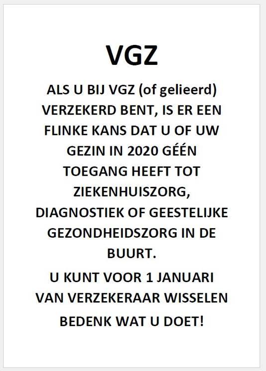 Pamflet huisartsen Hoeksche Waard VGZ