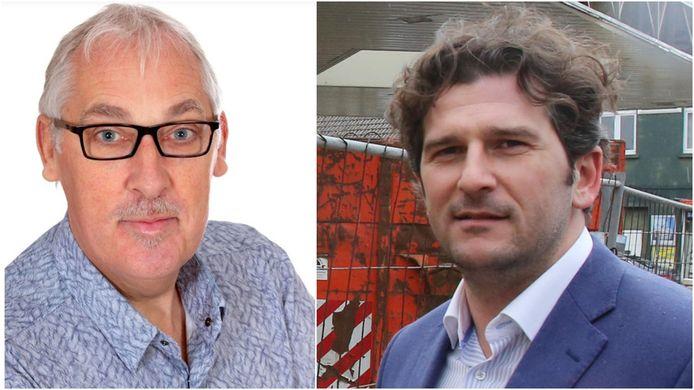 """Links: de opgestapte N-VA-schepen Alfons Monte. Rechts: fractieleider voor Open Vld Björn Prasse: """"Dumery is er vooral op uit haar eigen agenda door te duwen."""""""