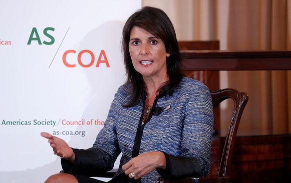 De Amerikaanse VN-ambassadeur Nikki Haley.