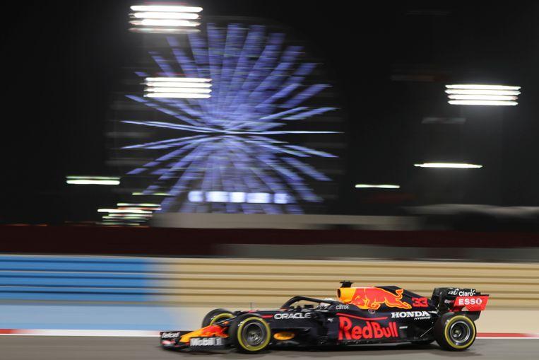 Max Verstappen tijdens de vrije trainingen van de GP Bahrein. Beeld AP