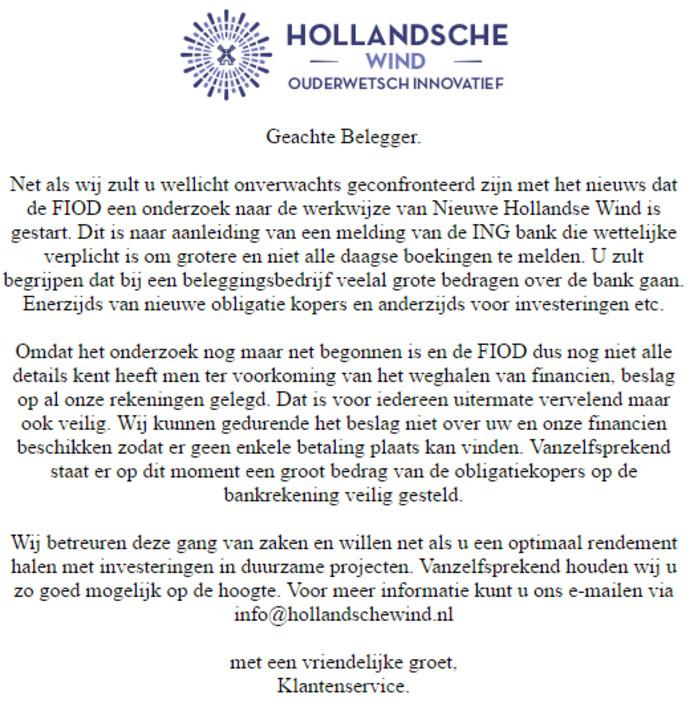 De verklaring op de website van Hollandsche Wind.