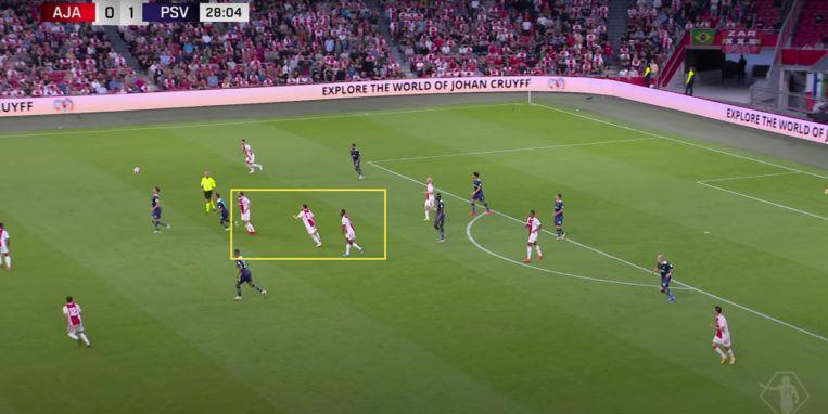 Met één handigheidje zet Götze drie Ajacieden uit het spel, in het midden van het veld. Beeld Screenshot ESPN