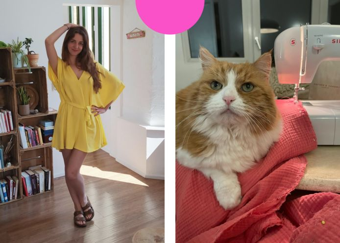 Redactrice Roxanne (links) en de kat van redactrice Renée (rechts) die op de naaimachine ligt.