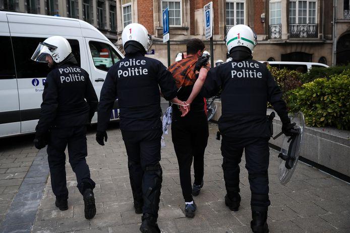 Arrestation lors des incidents qui ont suivi la manifestation, dimanche passé à Bruxelles