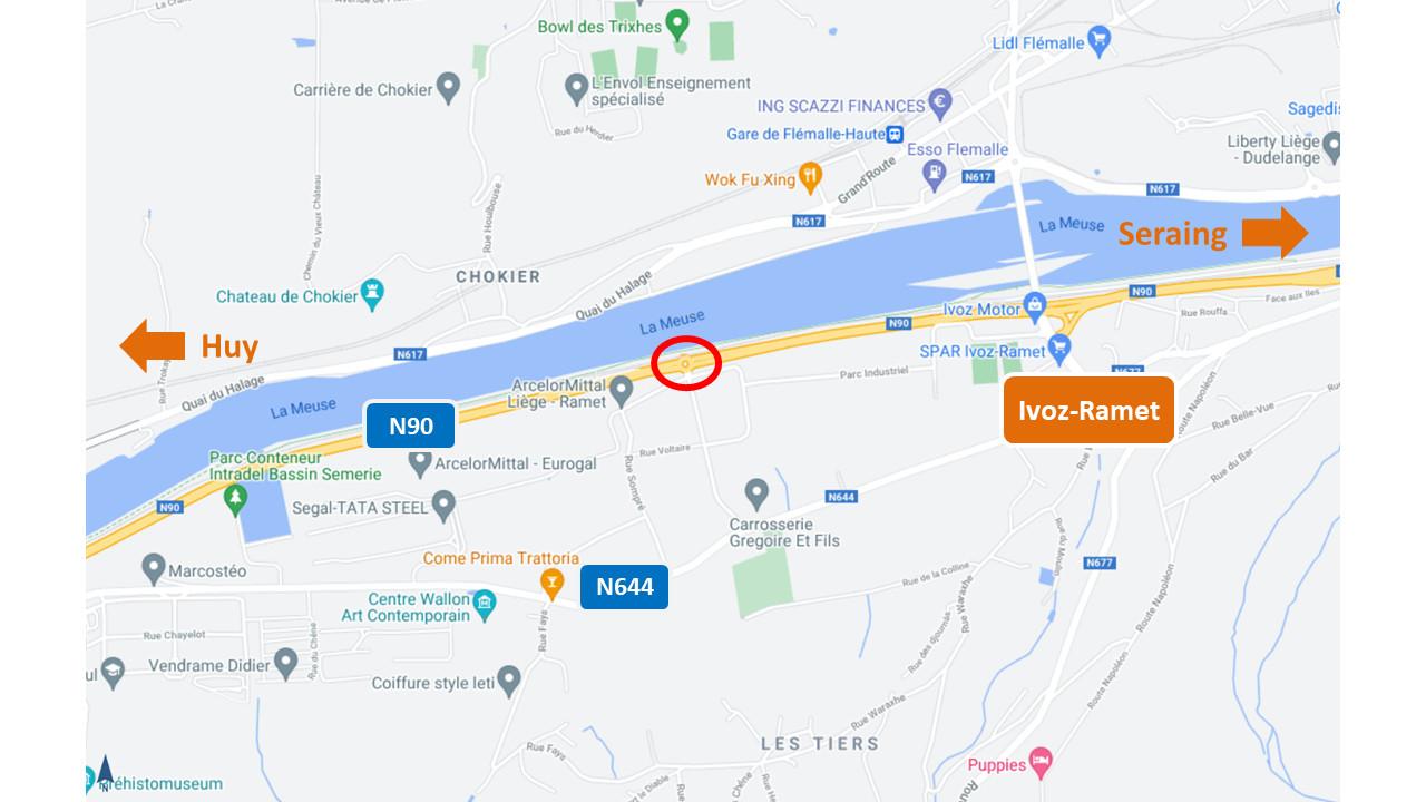 Chantier de réfection du rond-point de la Horre, à Ivoz-Ramet, dès le 17 mai 2021.