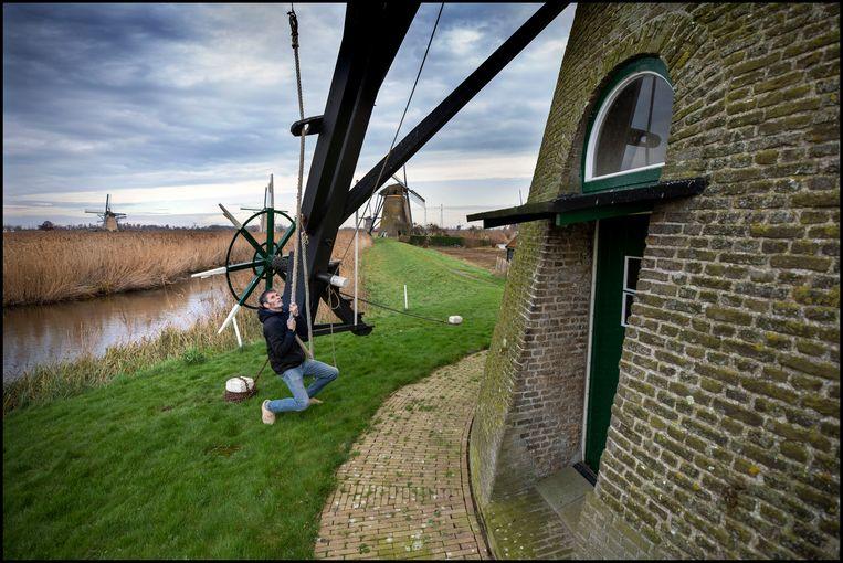 Gert-Jan Rozendaal, molenaar op Kinderdijk.  Beeld Werry Crone