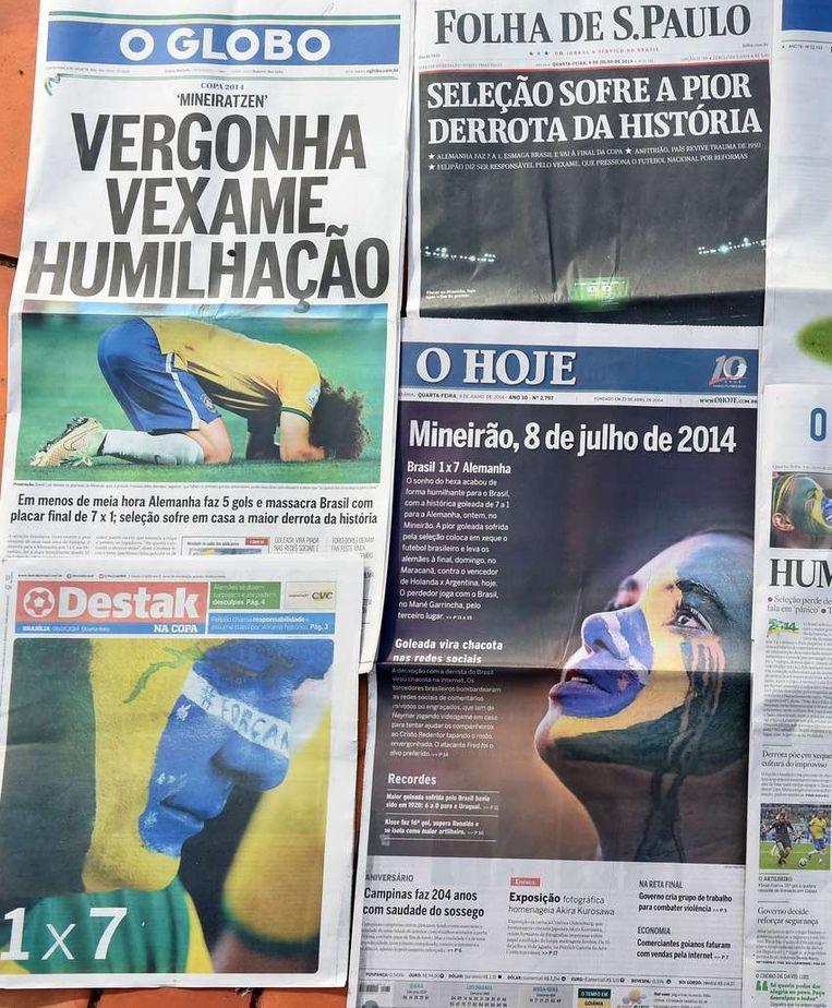 'Vernedering', koppen Braziliaanse kranten. Beeld afp