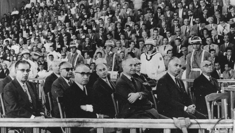 Als gevolg van de staatsgreep in 1960 worden premier Adnan Menderes en andere belangrijke politici ter dood veroordeeld. Beeld EPA