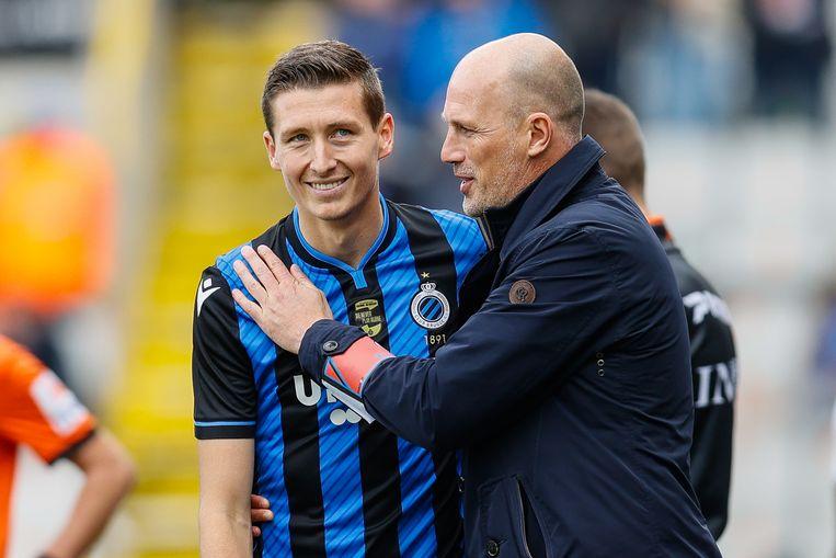 Club Brugge-speler Hans Vanaken en coach Philippe Clement. Beeld BELGA