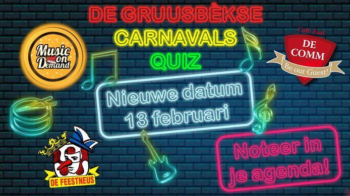 Aankondiging van de Gruusbèkse Carnavalsquiz.