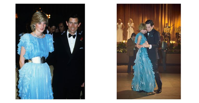 Links: Prinses Diana en prins Charles in Australië in 1983. Diana draagt een jurk van Bruce Oldfield. Rechts: still uit de serie.  Beeld Netflix/Getty