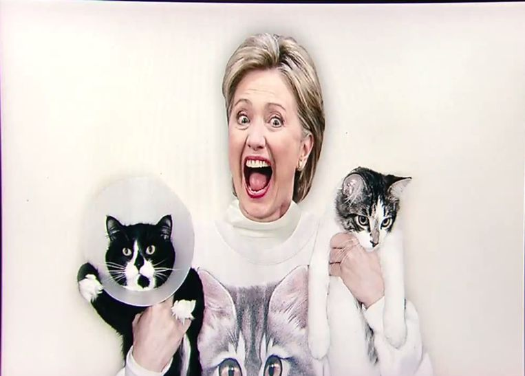 Kattenvrouwtje Hillary Clinton. Beeld YouTube