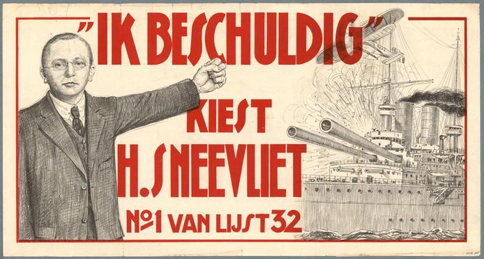 Campagneposter voor de verkiezingen van 1933, die Henk Sneevliet een Kamerzetel bezorgden.