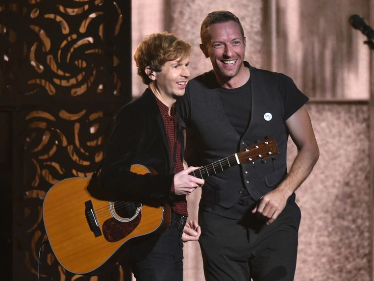 Winnaar Beck en Chris Martin van Coldplay. Beeld ap
