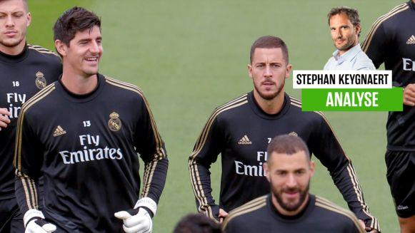 Hazard en Courtois op training.