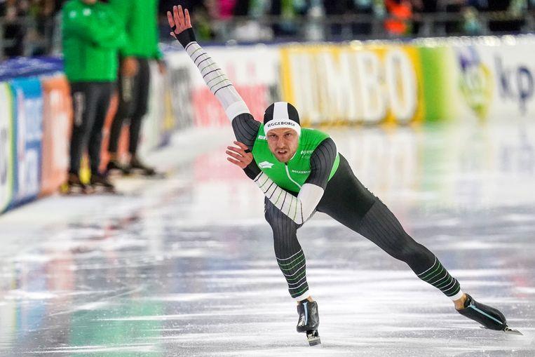 Michel Mulder in Heerenveen in 2019 tijdens een World Cup-kwalificatie op de 1.000 meter. Beeld Orange Pictures